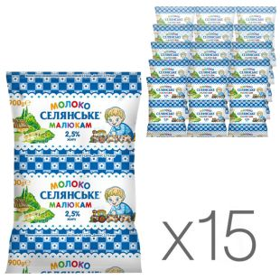Селянське, Молоко ультрапастеризоване дитяче 2,5%, 900 мл, упаковка 15 шт.