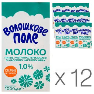 Волошкове поле, Молоко ультрапастеризованное 1%, 1 л, упаковка 12 шт.