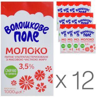 Волошкове поле, Молоко ультрапастеризованное 3,5%, 1 л, упаковка 12 шт.