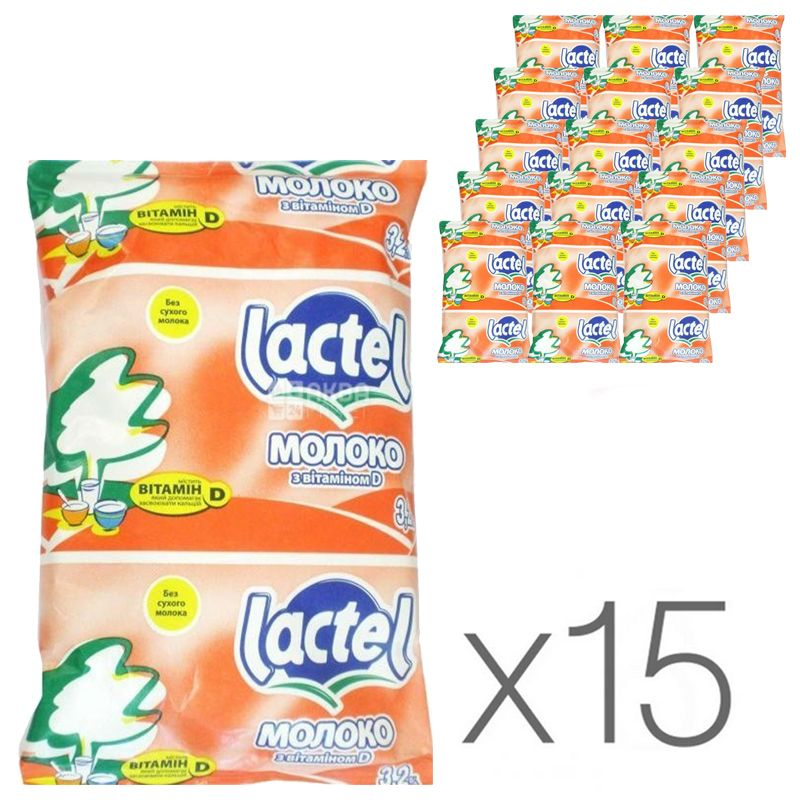 Lactel, Молоко ультрапастеризованное 3,2% с витамином D, 900 мл, упаковка 15 шт.