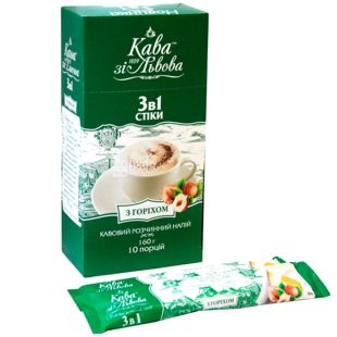 Kava zi Lvova, Coffee With a 3in1 nut, instant mix, 10x16 g