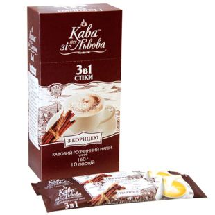 Kava zi Lvova, Coffee With 3in1 cinnamon, instant mix, 10x16 g