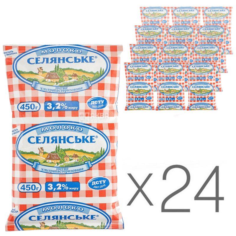 Селянское, Молоко ультрапастеризованное 3,2%, 450 мл, упаковка 24 шт.