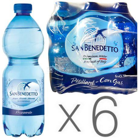 San Benedetto, 0,5 л, Упаковка 6 шт., Сан Бенедетто, Вода мінеральна газована, ПЕТ