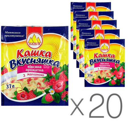 Олимп Кашка Вкусняшка, Каша овсяная ароматная, с малиной, 37 г, упаковка 20 шт.