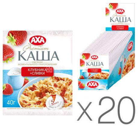 АХА, 40 г, упаковка 20 шт., Каша овсяная, с клубникой и сливками, моментального приготовления