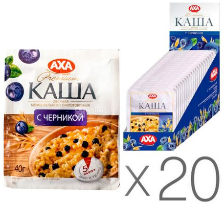 АХА, 40 г, упаковка 20 шт., Каша овсяная, с черникой, моментального приготовления