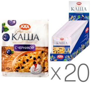 АХА, 40 г, упаковка 20 шт., Каша вівсяна, з чорницею, моментального приготування