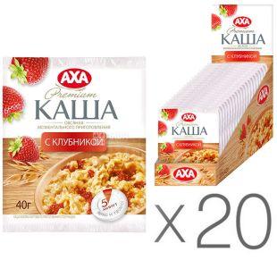 АХА, 40 г, упаковка 20 шт., Каша вівсяна, з полуницею, моментального приготування