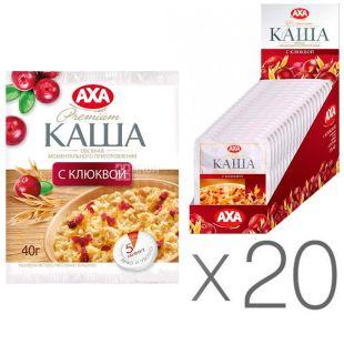 AXA, Instant oatmeal, cranberries, 40 g, pack of 20 pcs.