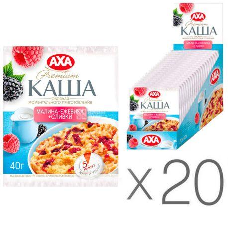 АХА, 40 г, упаковка 20 шт., Каша овсяная, малина, ежевика, сливки, моментального приготовления