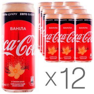 Coca-Cola Zero, Vanilla, Упаковка 12 шт. по 0,33 л, Кока-Кола Зеро, Ваніль, Вода солодка, низькокалорійна, ж/б