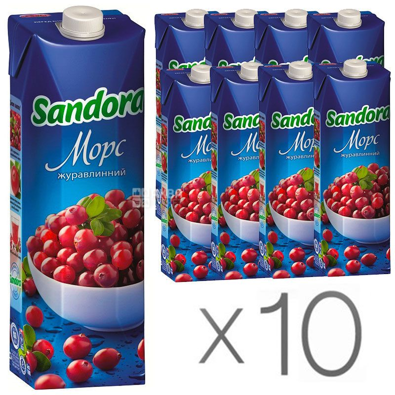 Sandora, Клюква, Упаковка 10 шт. по 0,95 л, Сандора, Морс натуральный