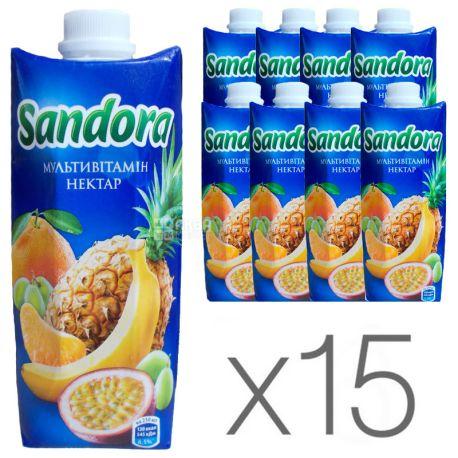 Sandora, Мультивитамин, Упаковка 15 шт. по 0,5 л, Сандора, Нектар натуральный
