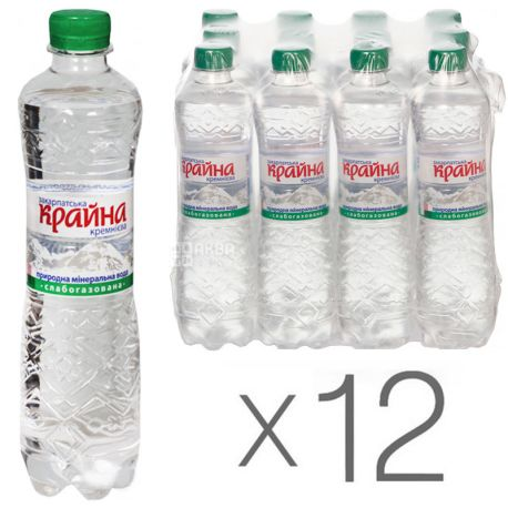 Krajna, lightly carbonated mineral water, 0.5 l, pack of 12 pcs., PAT
