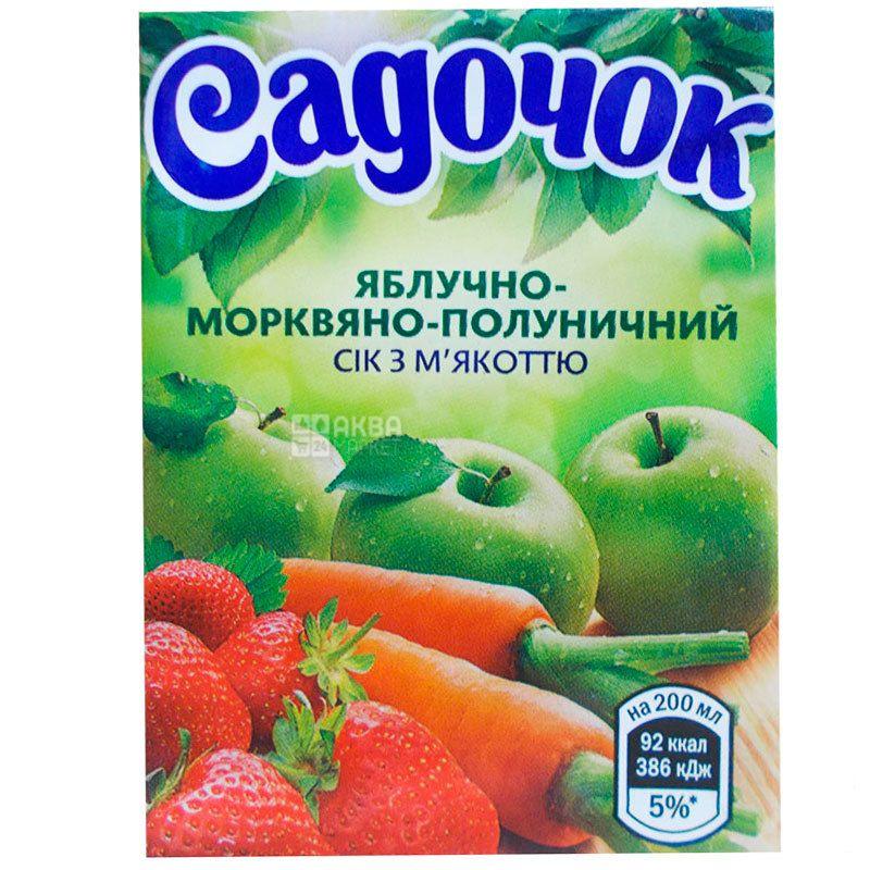 Садочок, Яблуко-морква-полуниця, 200 мл, Сік з м'якоттю