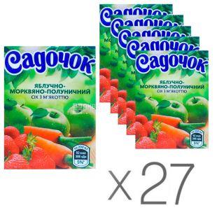 Садочок, Яблуко-морква-полуниця, 200 мл, Сік з м'якоттю, Упаковка 27 шт.