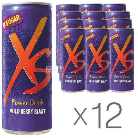 XS Power Drink, Wild Berry, упаковка 12 шт. по 0,25 л, Напиток энергетический ІксЕс, Лесные Ягоды