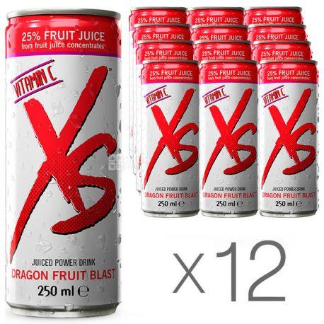 XS Power Drink, Dragon Fruit, упаковка 12 шт. по 0,25 л, Напиток энергетический ИксЭс, Питахайя