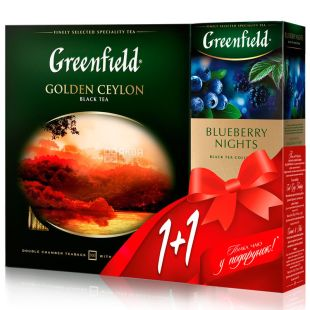 Greenfield, Golden Ceylon, 100 bags x 2 g Greenfield Tea, Black, + Blueberry Nights, 25 bags. x 2 g, Greenfield tea, black