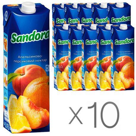 Sandora, Апельсин-персик, Упаковка 10 шт. по 0,95 л, Сандора, Нектар натуральный