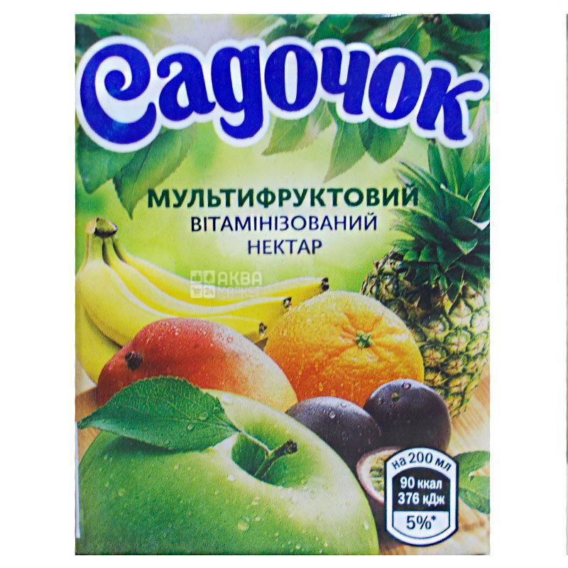 Садочок, Мультифруктовый, 0,2 л, Нектар натуральный, витаминизированный