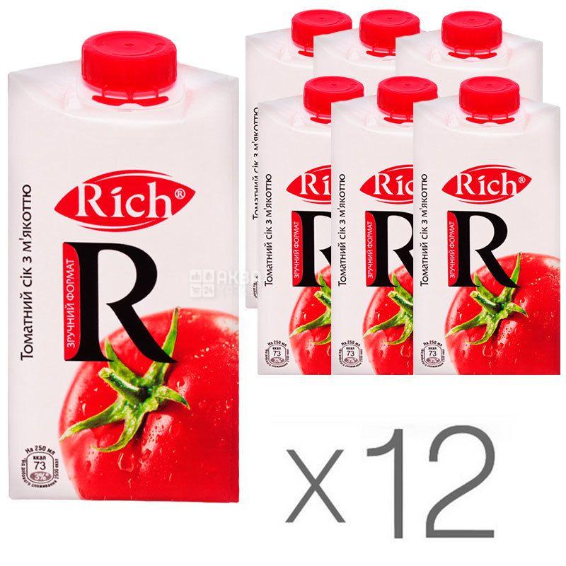 Rich, Томатный, 0,5л, Сок с мякотью и солью, Упаковка 12 шт.