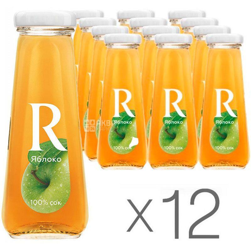 Rich, Яблочный, 0,2 л, Рич, Сок осветленный, Упаковка 12 шт., стекло