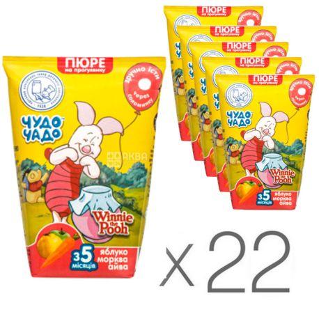 Чудо-чадо, Пюре детское, яблоко-морковь-айва, 130 мл, упаковка 22 шт.