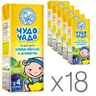 Чудо-Чадо, Слива-яблуко, 200 мл, Сік для дітей з м'якоттю, з 4 місяців, Упаковка 18 шт.