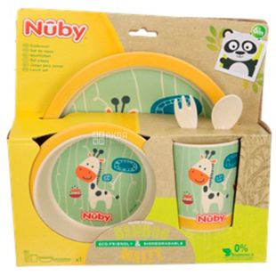 Nuby, Набір для годування, бамбуковий, жовтий, 5 приладів