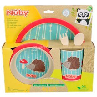 Nuby, Набір для годування, бамбуковий, червоний, 5 приладів