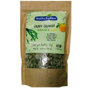 Healthy Tradition, Breakfast Green Granola (Spirulina, Orange), 160 g