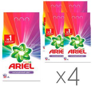 Ariel, Упаковка 4 шт. по 3 кг, Стиральный порошок, Color, Чистота Deluxe, Для цветного белья, Автомат