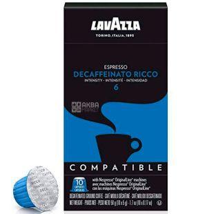 Lavazza Decaffeinato Ricco, Кава в капсулах без кофеїну, 10 шт.