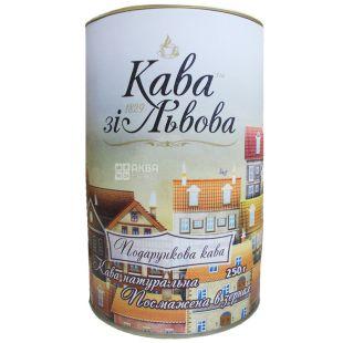 Кава зі Львова, Подарункова, 250 г, Кава середньо-темного обсмаження, в зернах, тубус