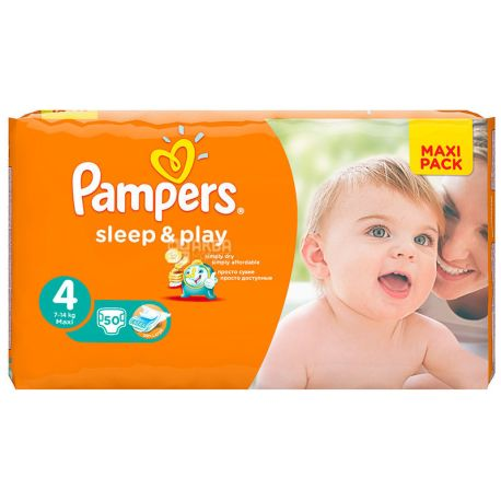 Pampers, 50 шт. 7-14 кг, підгузки, Sleep & Play, Maxi