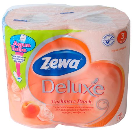 Zewa Deluxe Cashmere Peach, 4 рул., Туалетная бумага Зева Делюкс, Персик, 3-х слойная