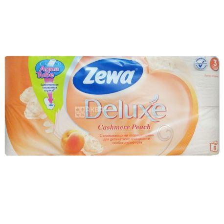 Zewa Deluxe, Туалетная бумага, трехслойная, аромат персика, 8 рулонов