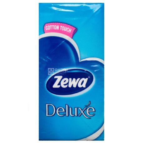 Zewa Deluxe, 10 шт., Платочки носовые бумажные Зева Делюкс, 3-х слойные