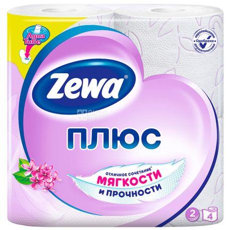 Zewa Plus, 4 рул., Туалетная бумага Зева Плюс, Сирень, 2-х слойная