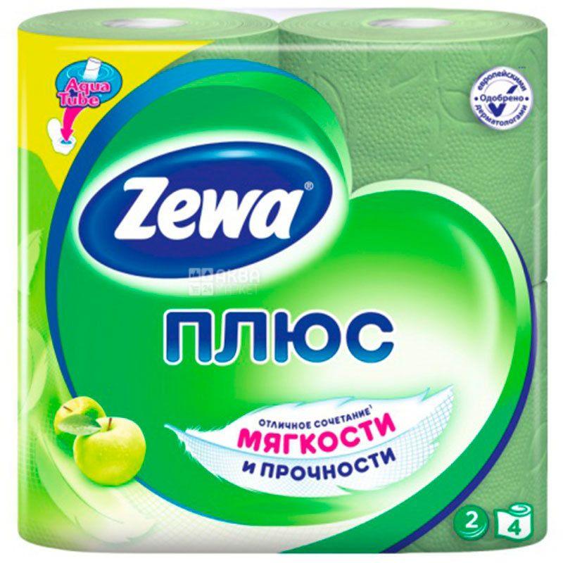 Zewa Plus, 4 рул., Туалетная бумага Зева Плюс, Яблоко, 2-х слойная