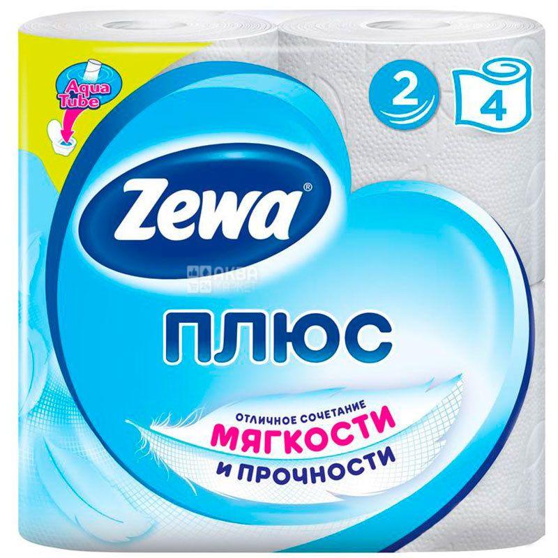 Zewa Plus, 4 рул., Туалетная бумага Зева Плюс, 2-х слойная