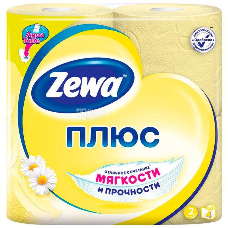 Zewa Plus, 4 рул., Туалетний папір Зева Плюс, Ромашка, 2-х шаровий