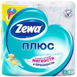 Zewa Plus, 4 рул., Туалетная бумага Зева Плюс, Свежесть Океана, 2-х слойная