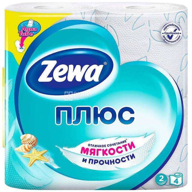 Zewa Plus, 4 рул., Туалетний папір Зева Плюс, Свіжість Океану, 2-х шаровий