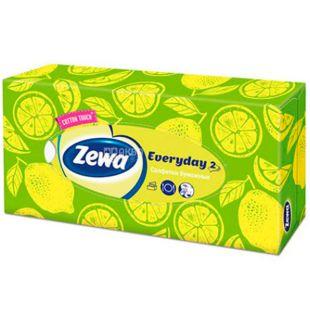 Zewa Everyday, 100 шт., Серветки для обличчя Зева Еврідей, 2-х шарові, 19х20.8 см, білі