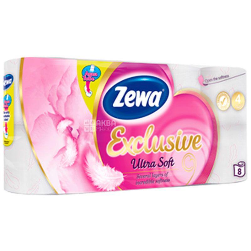 Zewa Exclusive Ultra Soft, 8 рул., Туалетная бумага Зева Эксклюзив, Ультра Софт, 4-х слойная