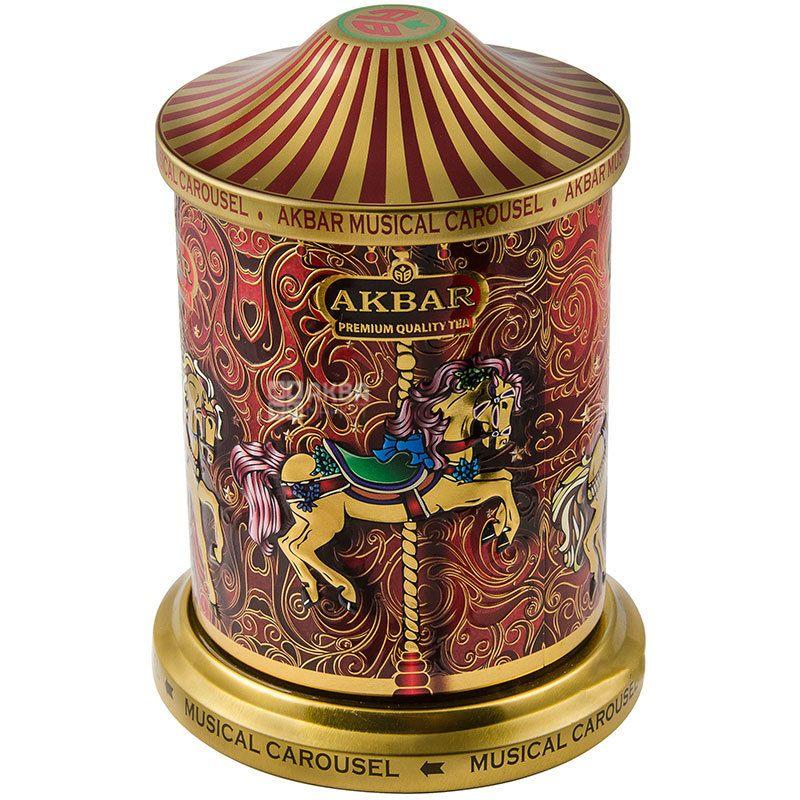 Akbar, Orient Mystery Musical Carousel, 250 г, Чай цветочный Акбар Ориент Мистери Мьюзикал Карусель, музыкальная шкатулка, ж/б