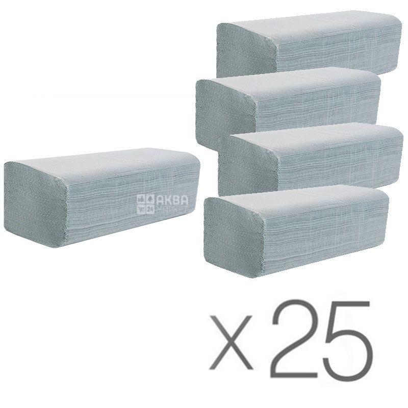 Wellis, 25 упаковок по 160 аркушів, Паперові рушники Велиса, одношарові, V-складання, серые, 25х24 см